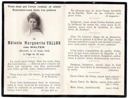 Faire-part De Décès De Mélanie Marguerite Vallon Née Walter Décédée Le 12 Aout 1922 à 23 Ans - Décès