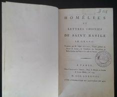 Homélies Et Lettres Choisies De Saint Basile Le Grand Par L'Abbé Auger De 1788 - 1701-1800