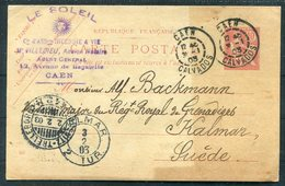 1903 Stationery Postcard, Le Soleil, Caen - Royal Grenadiers Military, Kalmar Sweden. Sassnitz / Trelleborg Ferry - France
