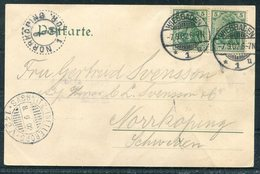 1902 Germany Wiesbaden Kurhausenlagen Postcard - Norkoping Sweden. Sassnitz / Trelleborg Ferry - Germany