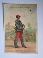 CHROMO Chromo ALCOOL DE MENTHE RICQLES - TRAIN DES ÉQUIPAGES (Soldat, Militaire Français) - Trade Cards