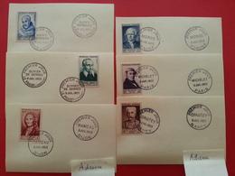 Y&T 945 / 950 1953 1er Jour Célébrités St BERNARD , DE SERRES , RAMEAU , MONGE , MICHELET , LYAUTEY Sur Carte - FDC