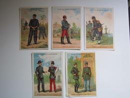 5 CHROMO Chromo ALCOOL DE MENTHE RICQLES - FORESTIER DOUANIER MARINE ARTILLEURS CYR TRAIN  (Soldat, Militaire Français) - Trade Cards
