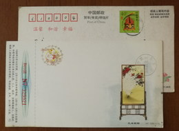 White Peacock Screen Artwork,China 1998 New Year Greeting Advertising Pre-stamped Card - Paons