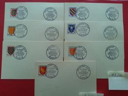 Y&T 999/1005 - 1954 Armoiries Maine Navarre Nivernais Bourbonnais Angoûmois Aunis Saintonge Blason Sur Carte FDC - 1950-1959