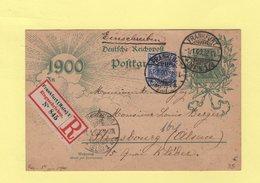 Entier Carte Postale Recommandée - 1er Janvier 1900 - Francfort Strasbourg - Germany