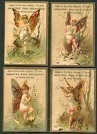 SERIE DE 4 CHROMOS PUBLICITAIRES - CHAUVET FELIX SERICICULTEUR AU BUIS DROME - GRAINES DE VERS A SOIE-  4 SAISONS - Trade Cards