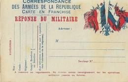 Carte Postale Franchise Militaire 6 Drapeaux - Marcophilie (Lettres)