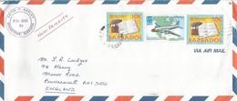 Barbados 1998 Trans-Canada North Star Airplane EXPO Vancouver Library Lucas Manuscripts Cover - Barbados (1966-...)
