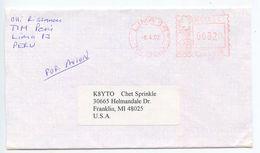 Peru 2002 Cover Lima To Franklin Michigan K8YTO W/ Hasler Meter - Peru