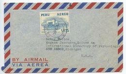 Peru 1957 Airmail Cover Lima To Ann Arbor Michigan, Scott C117 Airport - Peru