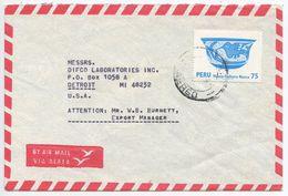 Peru 1978 Airmail Cover Lima To Detroit Michigan, Scott 664 Nazca Bowl, Huaco - Peru