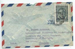 Uruguay 1950's Airmail Cover To Ann Arbor Michigan, Scott C170 - Uruguay