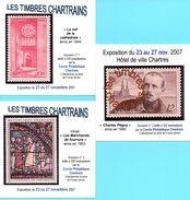 (L94)série De 6 Sous Bock Chartres Illustrés De Timbres Poste Cathédrale, Stock, Marceau, Vitrail, Péguy (philatélie) - Portavasos