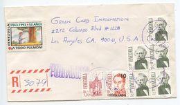 Venezuela 1993 Registered Airmail Cover Caracas To Los Angeles California - Venezuela