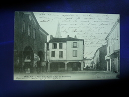 1903 MIELAN PLACE DE LA MAIRIE ET RUE ST BARTHELEMY BON ETAT - Autres Communes