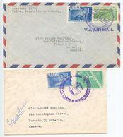 Panama 1962/1964 2 Airmail Covers Colon To Canada, Scott C246 Lions Int & C298 Soccer - Panama