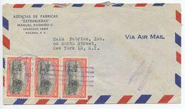 Panama 1952 Airmail Cover To New York, Scott 376 Sugar Cane Cart X 3 - Panama