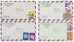 Guatemala 1970's 4 Airmail Covers Cobán To Elmira NY, Mix Of Stamps - Guatemala