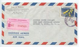 El Salvador 1966 Registered Airmail Cover San Salvador To Detroit MI, Scott 755 Flowers - El Salvador