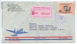 El Salvador 1965 Registered Airmail San Salvador To Detroit MI, Scott 749 JFK - El Salvador