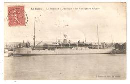 CPA 76 LE HAVRE STEAMER  L'EUROPE CACHET MARITIME BORDEAUX A LOANGO MILITARIA TRANSPORTS BATEAUX CONGO - Marcophilie (Lettres)