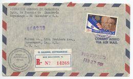 El Salvador 1961 Registered Airmail Cover San Salvador To Shreveport Louisiana, Scott C186 - El Salvador