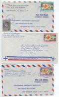 El Salvador 1969 3 Airmail Covers San Miguel & San Salvador, Scott 795-797 Red Cross - El Salvador