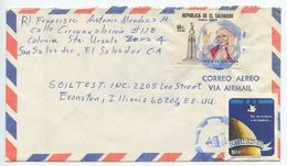 El Salvador 1984 Airmail Cover San Salvador To Evanston IL, Scott 959 & 978 - El Salvador