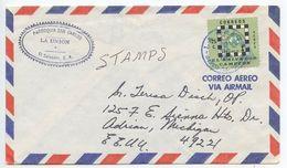 El Salvador 1977 Airmail Cover La Union To Adrian MI, Scott C408 Chess - El Salvador