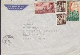 Egypt Egypte Air Mail Par Avion Mult Frank CAIRO 1952? Cover Brief BASEL Schweiz Arienne 2x Soldier Landkarte Map Censor - Ägypten