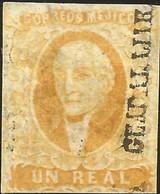 J) 1856 MEXICO, HIDALGO, UN REAL YELLOW ORANGE, GUADALAJARA DISTRICT, MN - Mexico