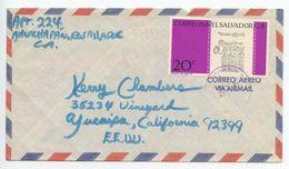 El Salvador 1972 Airmail Cover Ahuachapán To Yucaipa California, Scott 829 - El Salvador