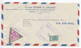 Nicaragua 1950's Airmail Cover Managua To Elmira NY, Scott 714 Triangle - Nicaragua