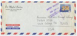 Costa Rica 1993 Airmail Cover Centro Colón To State College PA, Scott 456 - Costa Rica