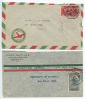 Mexico 1941 2 Airmail Covers D.F. To Ann Arbor MI, Eagle Man & Aztec Bird Man Stamps - Mexico
