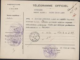 Guerre 39 Télégramme Officiel Cachet Francisque Attestation Patronale Ouvriers CAD La Madeleine Allier 20 2 44 - Storia Postale