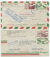 Mexico 1968-69 2 Special Delivery Airmail Covers D.F. & Culiacán To U.S. - Mexico