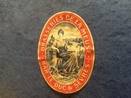 Ancienne étiquette De Bière -Brasserie De La Meuse - Publicités