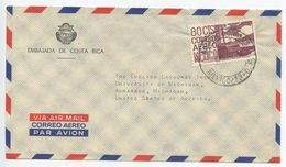 Mexico 1966 Airmail Cover Mexico City, Embassy Of Costa Rica - Mexico