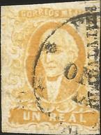J) 1856 MEXICO, HIDALGO, UN REAL YELLOW ORANGE, GUADALAJARA DISTRICT, CIRCULAR CANCELLATION, MN - Mexico
