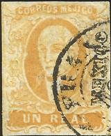 J) 1856 MEXICO, HIDALGO, UN REAL YELLOW ORANGE, MEXICO DISTRICT, CIRCULAR CANCELLATION, MN - Mexico