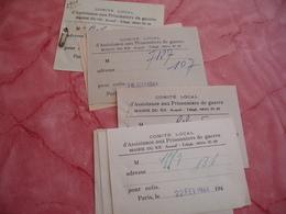 Lot De 18 Recu Comite Assistance Prisonniers Guerre Mairie 20 Eme Paris Guerre 39.45 - Documents Historiques