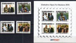 ZIMBABWE , 2018, MNH,OPEN FOR BUSINESS, LEADERS, LAGARDE,  IMF, XI JINPING, 4v+ SHEETLET - Famous People