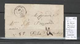 France -Lettre De BASTIA - Corse - 1856 Pour Pietra Di Verde - Taxée 30 - Postmark Collection (Covers)