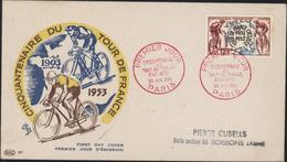Enveloppe Premier Jour D'émission Cinquantenaire Tour De France Cycliste 26 Juil 1953 Paris YT 955 CAD Rouge - Marcofilia (sobres)