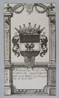 Vignette Héraldique XVIIIème - Franciscus GRAF VON COLLOREDO - Ex-libris