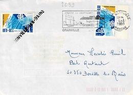 TP N ° 2639  En 2 Ex Sur Enveloppe De Granville Pour Donville En Poste Restante Avec Griffe Linéaire De Donville - Marcophilie (Lettres)