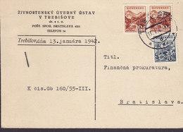 Slovakia ZIVNOSTENSKY UVERNY USTAV V TREBISOVE, TREBISOW 1942 Card Karte BRATISLAVA (2 Scans) - Slowakije