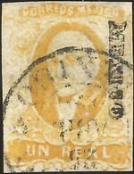 J) 1856 MEXICO, HIDALGO, UN REAL YELLOW, ORANGE, MEXICO DISTRICT, CIRCULAR CANCELLATION, MN - Mexico
